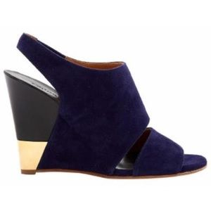 Chloe Navy Suede Wedge Sandals